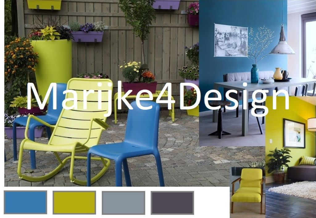 lime en blauw in tuin en interieur