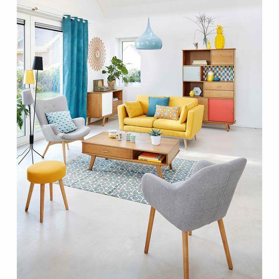 Blauwe Design Bank.Gele Bank En Blauwe Gordijnen Marijke4design Interieurontwerp